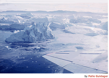 Greenland is melting; photo showing ice sheets breaking up