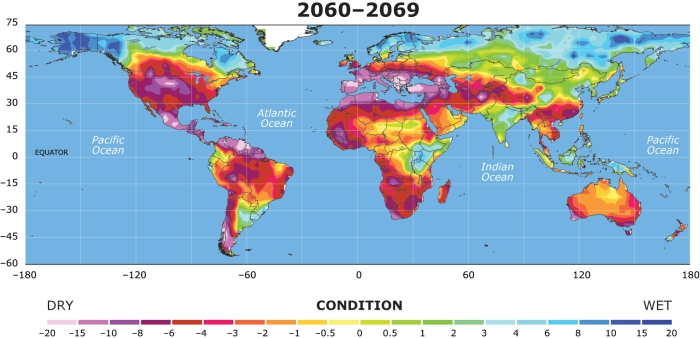 Projected drought and dry regions in 2060-2069