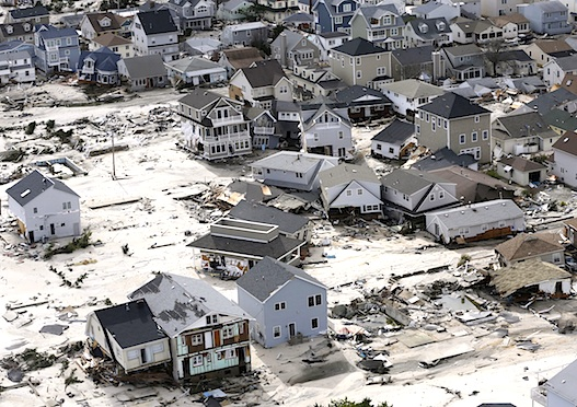 Seaside Heights, New Jersey, on October 31, 2012. (AP Photo:Mike Groll)
