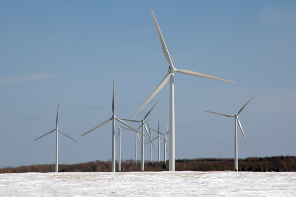 Wind turbines on the Tug Hill plateau in upstate New York