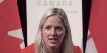 "Canadian Minister of Environment and Climate Change Catherine McKenna speaks during a news conference, in Paris, France, on Nov. 29, 2015. The Climate Action Network International awarded Canada a second place ""fossil of the day"" award today at the COP21 climate summit, citing the reluctance of Canadian negotiators to have compensation for weather destruction in poor countries included in the final Paris agreement.THE CANADIAN PRESS/Adrian Wyld"